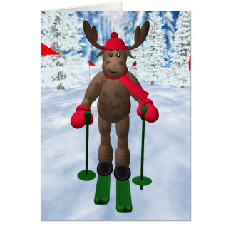 Cross-Country Skiing Whimsical Reindeer Greeting Card