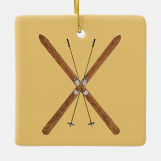 Cross-Country Skis And Poles Ceramic Ornament