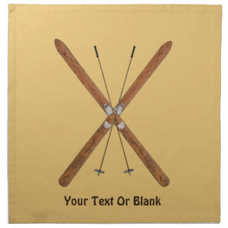 Cross-Country Skis And Poles Cloth Napkin