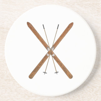Cross-Country Skis And Poles Beverage Coasters