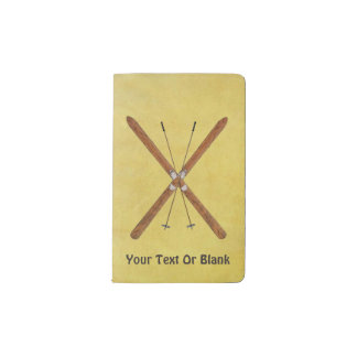 Cross-Country Skis And Poles Pocket Moleskine Notebook Cover With Notebook