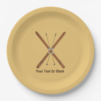 Cross-Country Skis And Poles Paper Plate