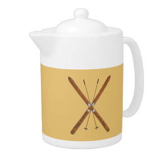 Cross-Country Skis And Poles Teapot