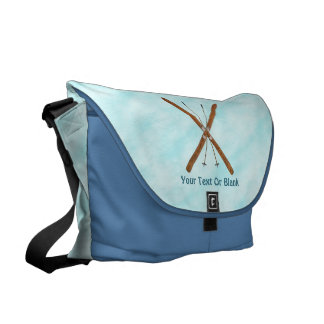 Cross-Country Skis On Snow Messenger Bag