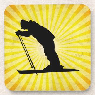 Cross Country Snow Ski; yellow Beverage Coaster