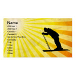 Cross Country Snow Ski; yellow Business Cards