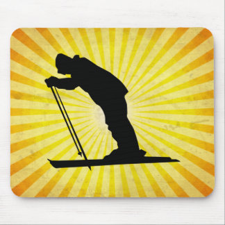 Cross Country Snow Ski; yellow Mouse Pad