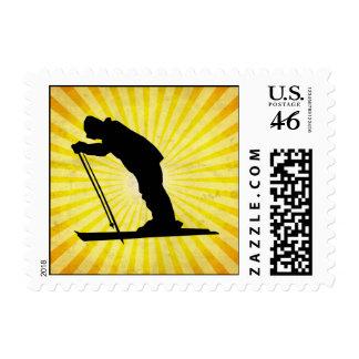Cross Country Snow Ski yellow Stamp