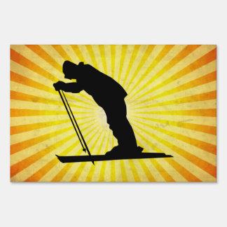 Cross Country Snow Ski; yellow Sign