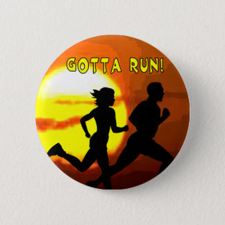 CROSS COUNTRY STAMP MOTTO - GOTTA RUN! PINBACK BUTTON