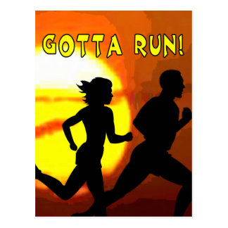 CROSS COUNTRY STAMP MOTTO - GOTTA RUN! POST CARDS