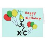 Cross Country XC Runner Happy Birthday Greeting Card