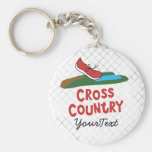 Cross Country - XC Running Shoe Basic Round Button Keychain