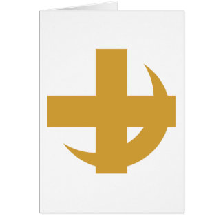 Cross Crescent Gold Greeting Card