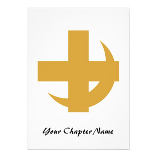 Cross Crescent Gold Personalized Announcements