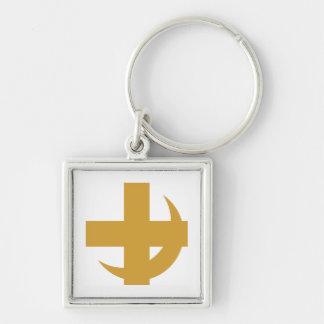 Cross & Crescent Gold Key Chain