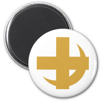 Cross & Crescent Gold 2 Inch Round Magnet