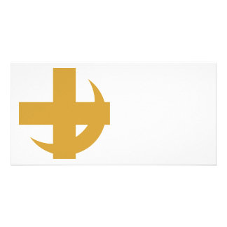 Cross & Crescent Gold Personalized Photo Card