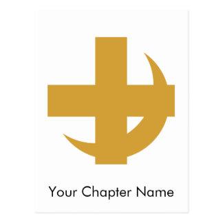 Cross Crescent Gold Post Card