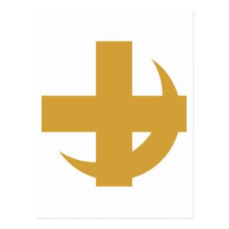 Cross Crescent Gold Postcard