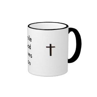 cross, cross, Smile God Loves You Coffee Mugs