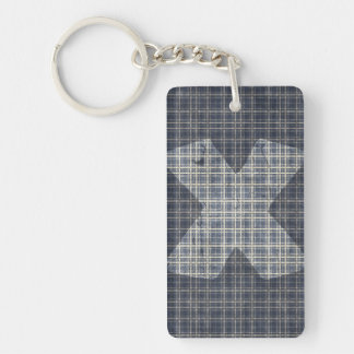 Cross design with plaid pattern Double-Sided rectangular acrylic keychain