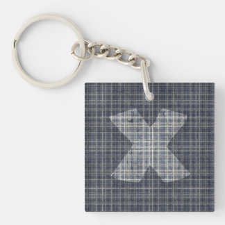 Cross design with plaid pattern Single-Sided square acrylic keychain