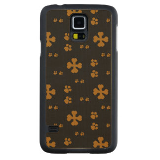 Cross Dog bones and Paw prints Carved Maple Galaxy S5 Slim Case
