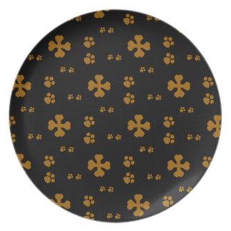 Cross Dog bones and Paw prints Dinner Plates