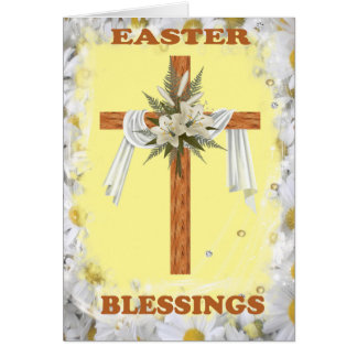 Cross draped in white cloth card