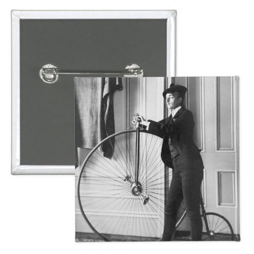 Cross-Dressed Cyclist, 1890 2 Inch Square Button