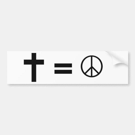 Cross, Equals, Peace Symbol Bumper Sticker