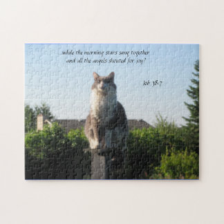 Cross Eyed cat and Job 38:7 Jigsaw Puzzle