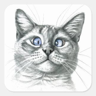 Cross Eyed cat G122 Pegatina Cuadrada
