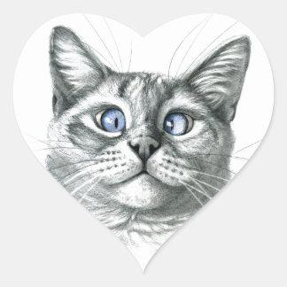 Cross Eyed cat G122 Pegatina En Forma De Corazón