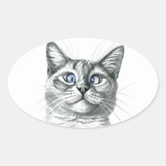 Cross Eyed cat G122 Pegatina Ovalada