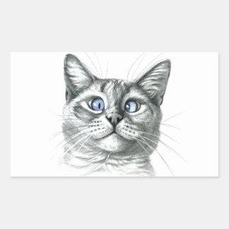Cross Eyed cat G122 Pegatina Rectangular