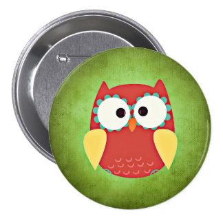 Cross Eyed Owl 3 Inch Round Button