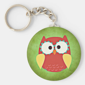 Cross Eyed Owl Button Keychain