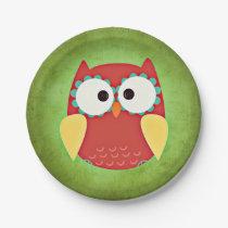 Cross Eyed Owl Paper Plate