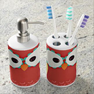 Cross Eyed Owl Soap Dispenser And Toothbrush Holder