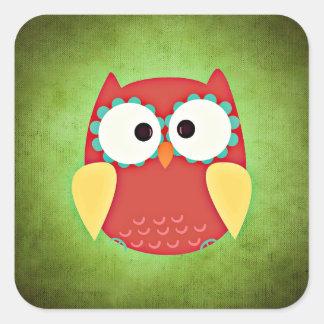 Cross Eyed Owl Square Sticker