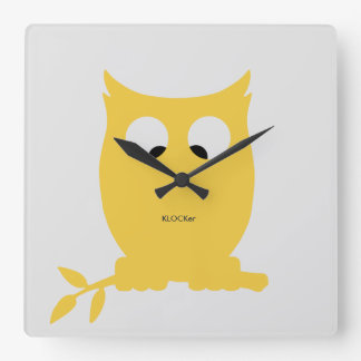 Cross Eyed OWL Square Wall Clock