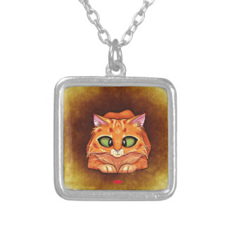 Cross Eyed Pretty Kitty Square Pendant Necklace
