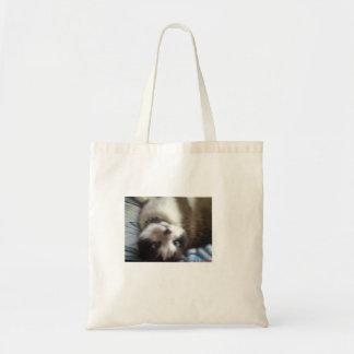 cross eyed upside down kitty tote bag