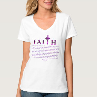 Cross Faith Christian Psalm 23 Courage Bible Quote T-shirt