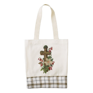 Cross Faith Christianity Blessing Easter Floral Zazzle HEART Tote Bag