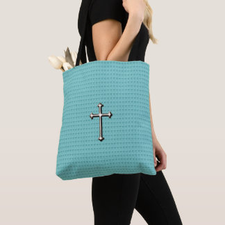 Cross_Faith _Silver (c) Sweet-Blue-*_Multi-Styles Tote Bag