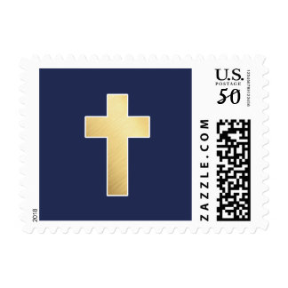 CROSS FAUX GOLD modern stylish simple navy blue Postage