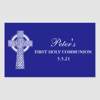 Cross First Holy Communion Party Favor Labels